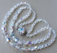 Vintage 2-Strand AURORA BOREALIS Graduated CRYSTAL Bead Necklace
