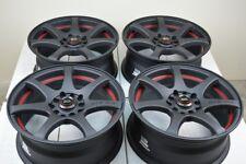 """4 New Ddr Zk15 15x6.5 5x100/114.3 35mm Matt Black/Red Undercut 15"""" Wheels Rims (Fits: Infiniti)"""