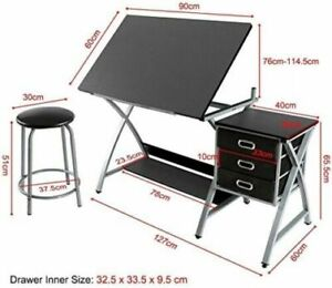 Yaheetech Three Drawers Adjustable Height Tiltable Tabletop Drafting Table With