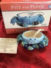 NIB FLAWLESS Exquisite FITZ FLOYD Ceramic CRAB DIP SAUCE BOWL DISH & SHELL SPOON