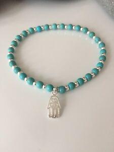 Sterling Silver And Turquoise Beaded Bracelet. Hamsa Hand Bracelet. Hamsa