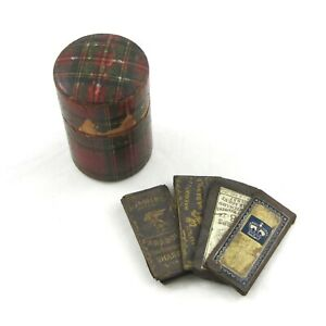Antique Tartanware Stuart Tartan Needle Case With Antique Needles
