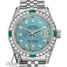 Rolex 31mm Datejust Ice Blue 8+2 Dial with Custom Emerald & Diamond Ladies Watch