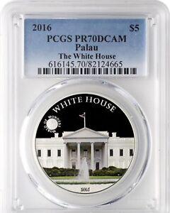 2016 Palau Proof .999 Silver $5 World of Wonders White House USA PCGS PR pf 70