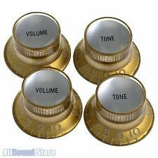 Set of 4 GOLD Bell Top Hat KNOBS w/ Silver Reflector Insert for Gibson USA, CTS