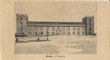 Stampa antica PAVIA Veduta del Castello Lombardia 1891 Old antique print