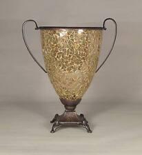 Gold Mosaic Glass Vase Brown Metal Base Handles Flower Arrangement  Centerpiece