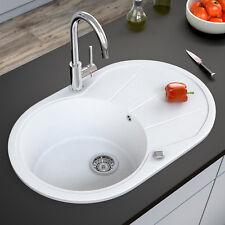 Granit Spüle Küchenspüle Einbauspüle Spülbecken+Drehexcenter+Siphon Weiß