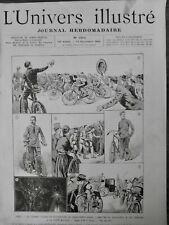 1891 VELO COURSE PARIS-BREST BICYCLETTE VAINQUEUR TERRONT DESSIN TILLIER