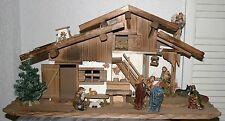 Krippe Weihnachten Holz 75 x 25 x 35 cm  Krippenstall Krippenfig. 11tlg LED-Bel.