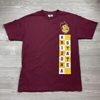 Vintage 9Arizona State Sun Devils T-Shirt Size Mens M Medium Burgundy H77
