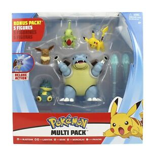 Pokémon Coffret 5 FIGURINES de bataille Pikachu/Tortank/Evoli/Embrilex/Goinfrex