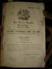 INDIA RARE -  THE JAIPUR GAZETTE 1st FEBRUARY 1947 TO DECEMBER 29 1947