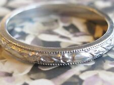 ANTIQUE VINTAGE EUROPEAN 14K 583 WHITE GOLD WEDDING BAND HEART AND IVY PATTERN 6