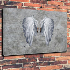 "BANKSY ANGEL WINGS Printed Box Canvas Picture A1.30""x20""Deep 30mm Frame Grey"