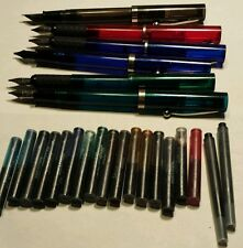6 vintage Schaeffer no nonsense fountain pens w/18 new ink cartridges 1960-1990