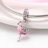 Charms Armband Echt Silber 925 Flamingo Anhänger für Pandora Armreif Geschnk Neu