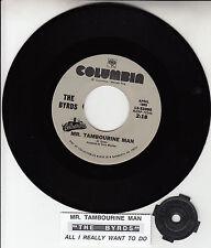 "THE BYRDS  Mr. Tambourine Man 7"" 45 record NEW + juke box title strip RARE!"