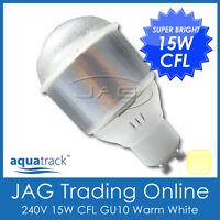 240V 15W CFL GU10 WARM WHITE GLOBE/ENERGY SAVING BULB - Downlight/Down Light WW