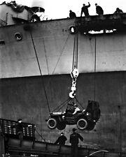 New 8x10 World War II Photo: Loading Jeep onto Coast Guard Landing Craft - 1945