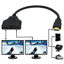 1 to 2 HDMI Splitter Male to Female Split Double Signal Adapter Convertor New AD