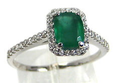Emerald Ring 14K White gold Zambian Halo Diamond Natural Heirloom 1.69Ct $3,225