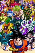Dragon Ball Super/Z Poster Goku and Movie Villains 12inx18in Free Shipping