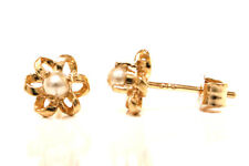 9ct Gold Small Pearl Daisy Flower Studs Earrings Gift Boxed Made in UK