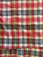 Ralph Lauren FULL Flat Sheet Sundeck Madras Red Blue Yellow Plaid