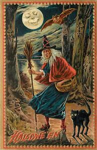Raphael Tuck Haunted Forest Halloween Witch in Woods Print or Window/Door Decal