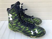NEW Under Armour UA Highlight Lacrosse Cleats Mens High Top Green Blue 12.5
