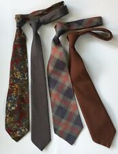 Lot of 4 Vintage Ties Made in Italy Paisley Checks Silk 1970s 1980s