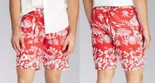 $75 Polo Ralph Lauren Coral Print Cargo Swim Trunks, Red, 2XB
