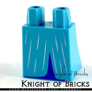 LEGO Minifigure Legs MEDIUM AZURE Skirt w Silver Lines and Medium Blue Opening