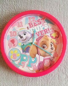 "PAW PATROL SKYE EVEREST CHILDREN CHARACTER 10"" WALL CLOCK KIDS BEDROOM PINK GIRL"