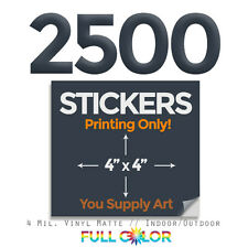 """2500 Custom Quality Vinyl STICKERS; PRINT Only + FREE Shipping (4"""" x 4"""") Square"""