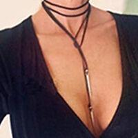 Velvet Leather Choker black cord Necklace SILVER Rivet Pendant Long ChainJewelry