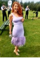Coast Hanna Feather Hem Gatsby Dress Lilac Purple Occasion Party Dress UK 6 - 18