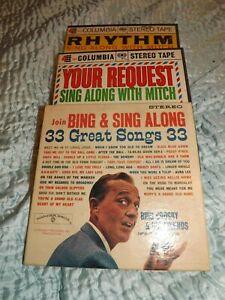 """3 x music prerecorded audio 7"""" reel to reel tapes bing crosby and mitch miller"""