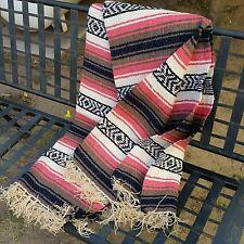 Premium COLOR Mexican Blanket Southwest Throw Large Falsa - ROSE, COCOA, KHAKI