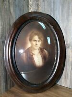 Antique Large Convex Bubble Glass Oval Tiger Maple Frame With Young Woman A9