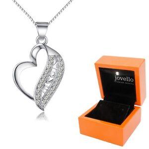 925 Silber Herz Love Liebe Zirkonia Anhänger mit Kette Halskette + LED Holzbox