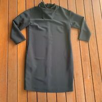 Country Road Size 6 Black Shirt Dress Drape Neck 3/4 Sleeves Business Cocktail