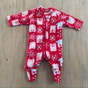Hanna Andersson Red Owl Winter Fleece Footsies Pajamas Sleeper Girls Size 0-3M