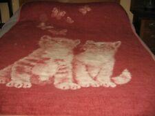 Ibena Kittens / Cats Butterflies Reversible Blanket 74 X 55 Vintage Rose Pink