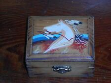 PINE RIDGE SD VINTAGE HORSE SIOUX INDIAN ART HAND PAINTED WOOD BOX SOUTH DAKOTA