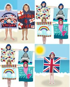 Boys Girls Kids Novelty Hooded Swim Towel Bathrobe Poncho Beach Bath Swimming
