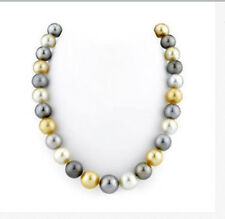 "tahitian10-11mm white gold blak multicolor round pearl necklace 18""14k"