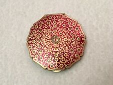 Stratton Compact Red Iridescent With Gold Overlay (Missing Powder and Puff)