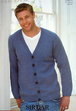 Sirdar 9089 - Mens DK Raglan V-neck Cardigan Knitting Pattern 38/48in